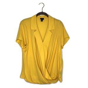 WORTHINGTON Mustard Wrap Front Blouse Size Large